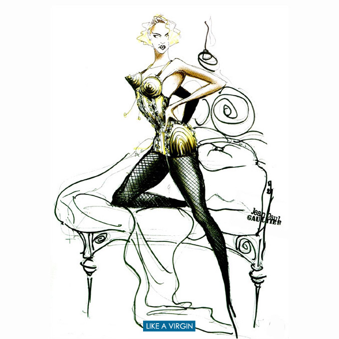 Blond Ambition Tour costume sketch by Jean Paul Gaultier